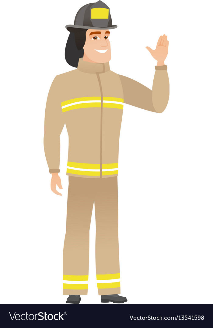 Young caucasian firefighter waving his hand