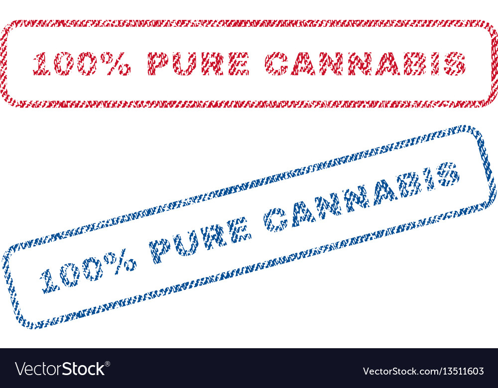 100 percent pure cannabis textile stamps vector image