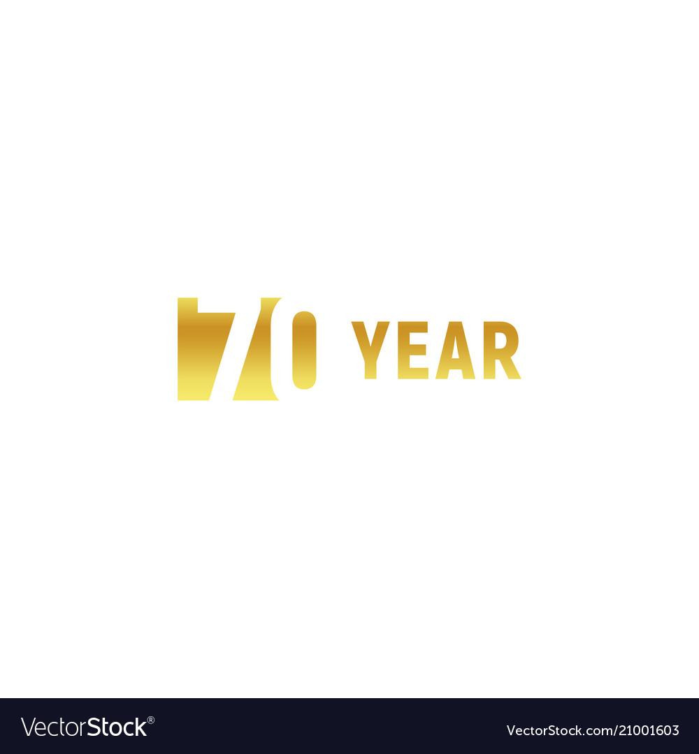 70 year happy birthday gold logo on white