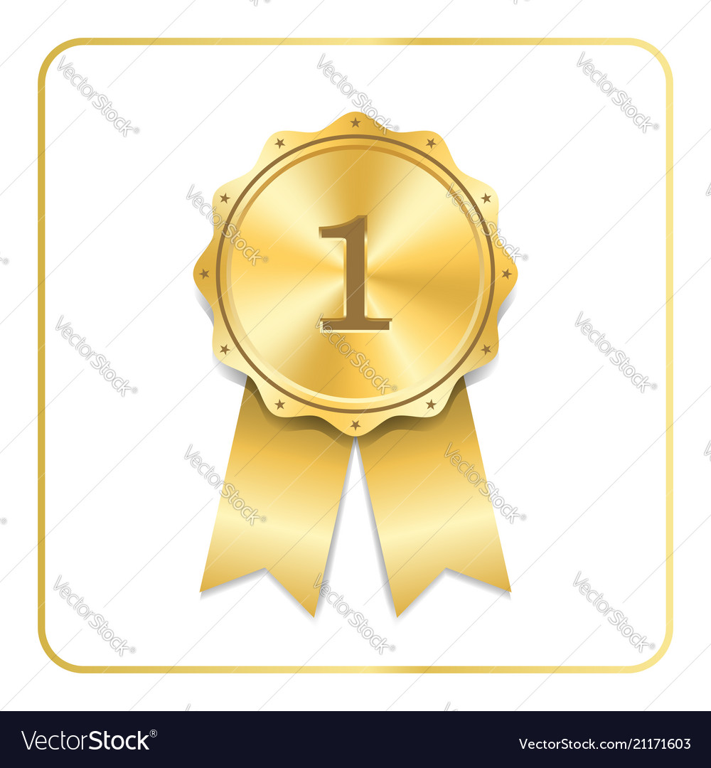 Award ribbon gold icon blank medal isolated on