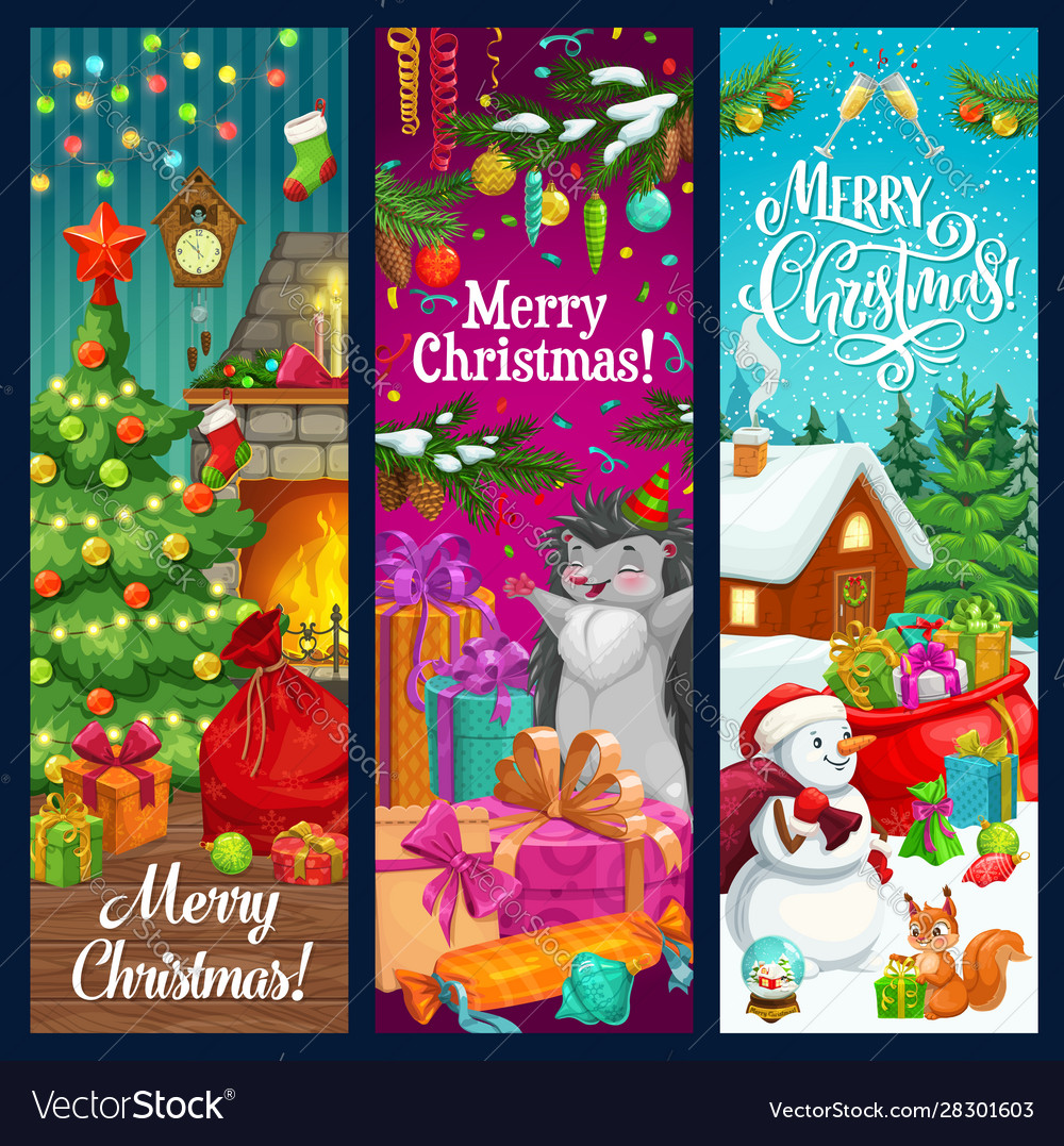 Christmas tree snowman and xmas gifts banners