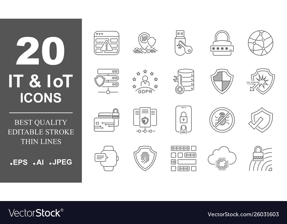 Computer network icons it iot ai networking