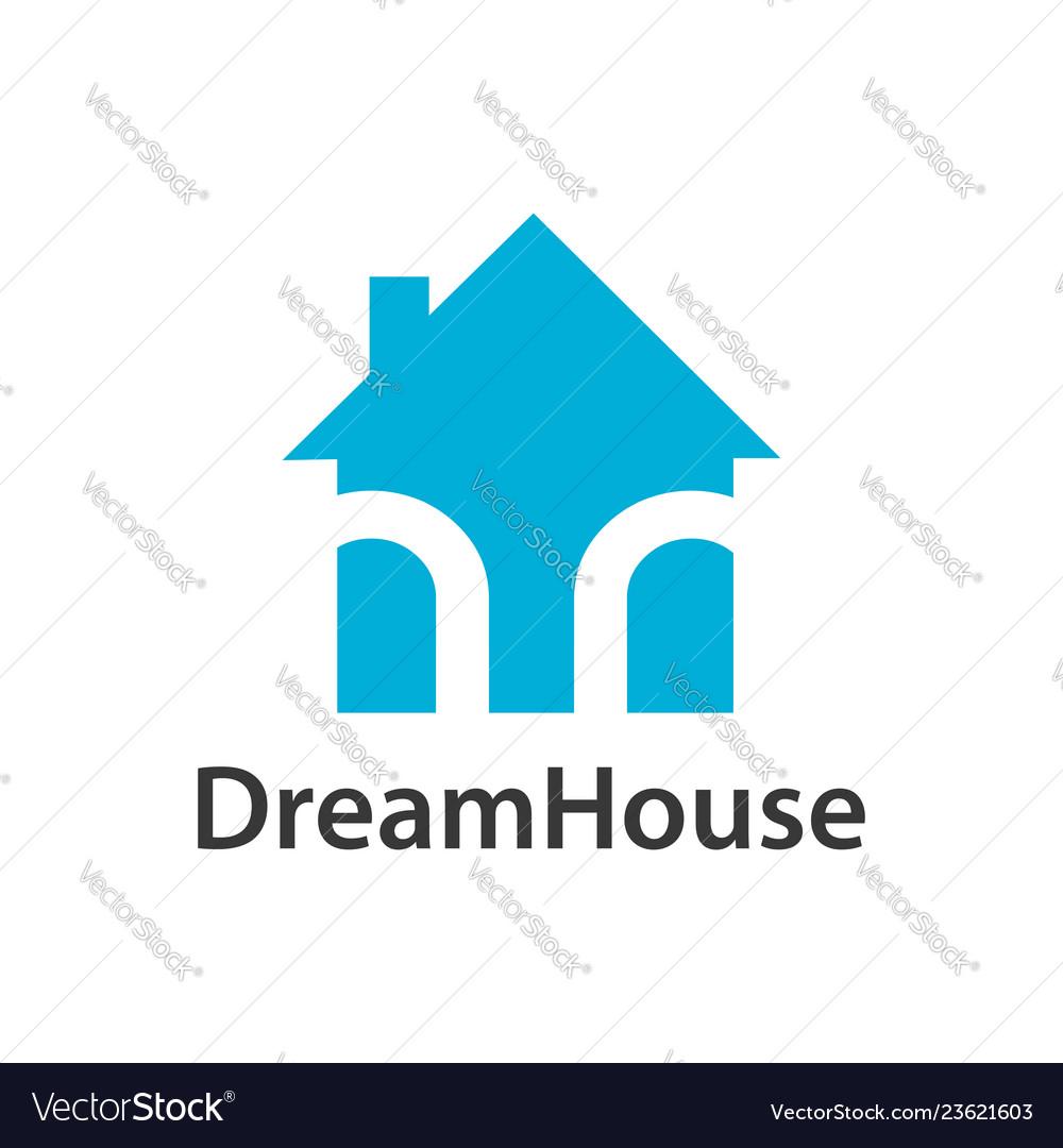 Dream house logo concept design light blue color