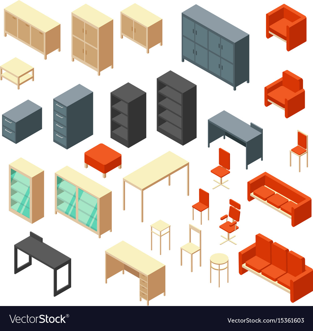Isometric 3d office furniture isolated interior