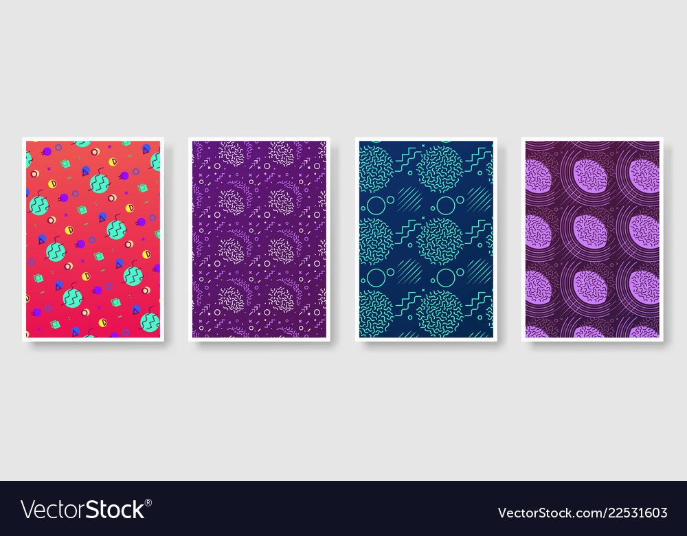 Memphis style poster set seamless background