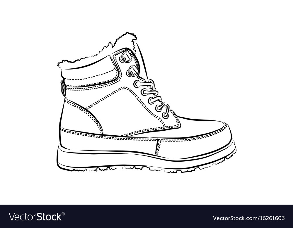 Men winter boots on white background