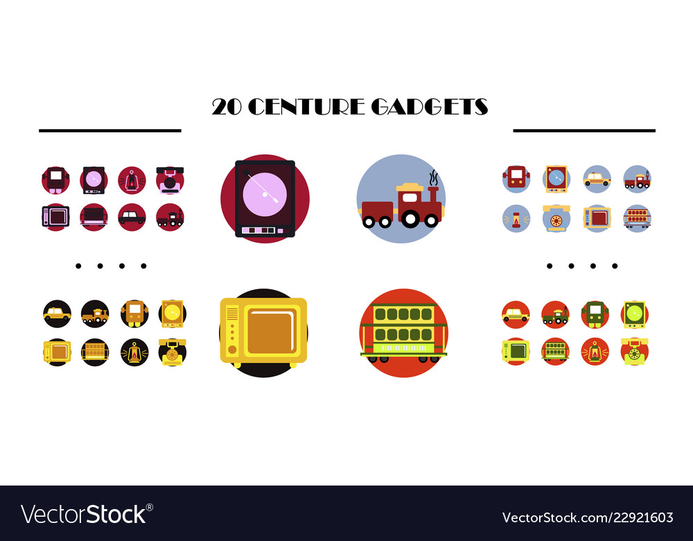 Modern retro icons set of development seo
