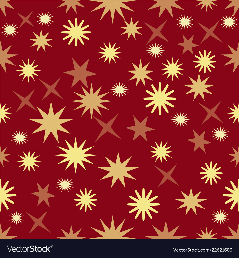 Seamless dark red background with gold stars