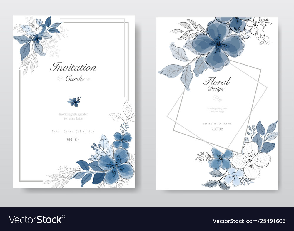 Set blue watercolor florals card