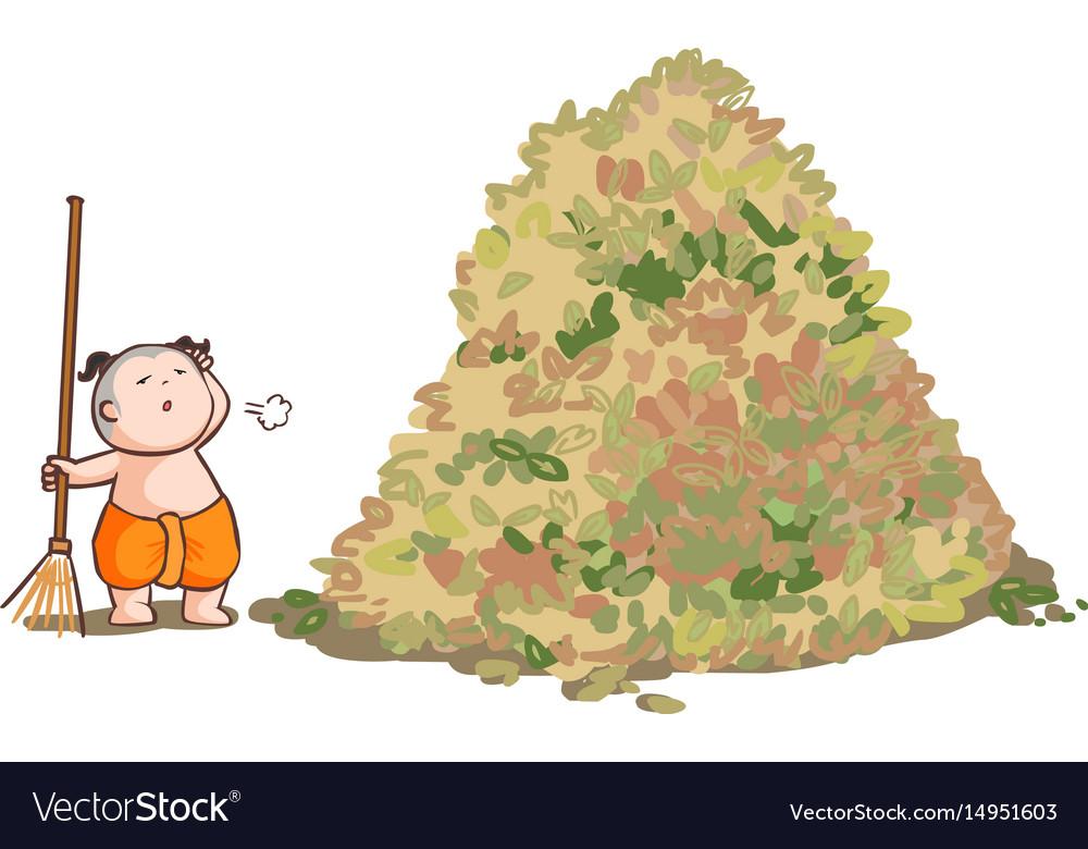 Thai Kid Sweep The Huge Pile Leaves Royalty Free Vector