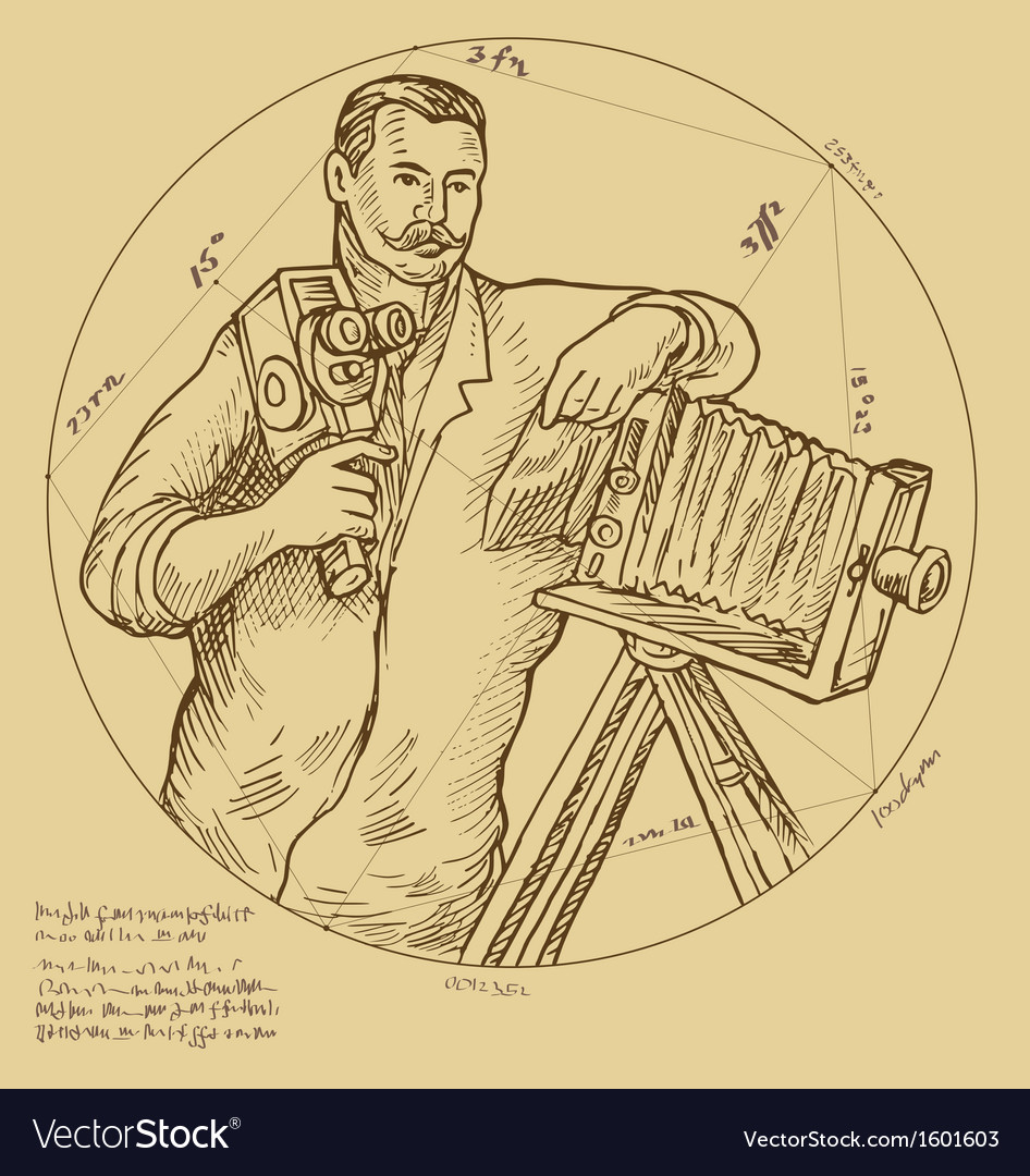 Vintage Photographer holding video camera vector image