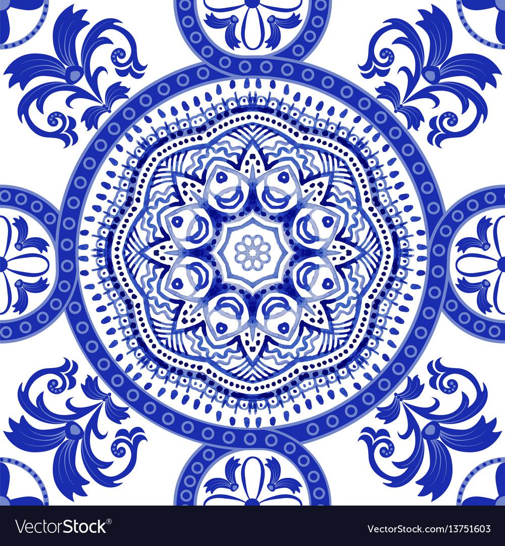 White and blue ornamental pattern indian