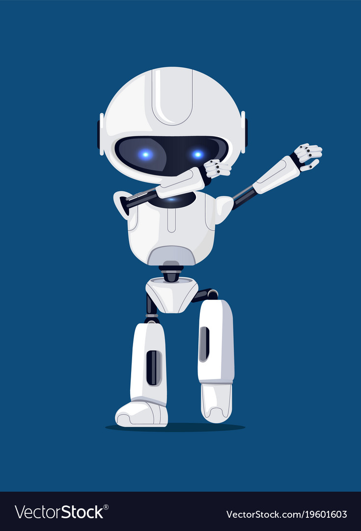 White funny dabbing robot card