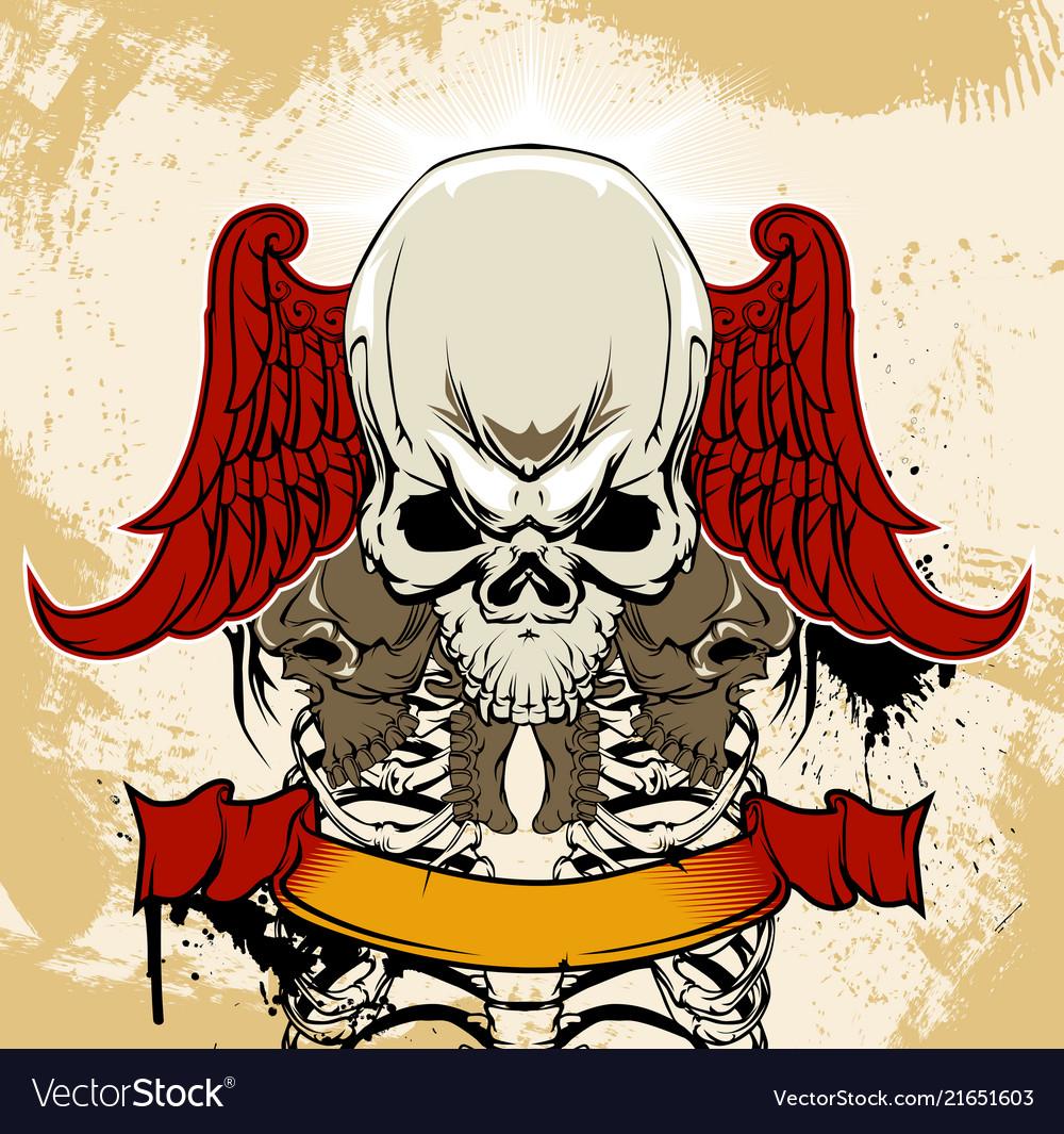Winged skull and ribs anatomical