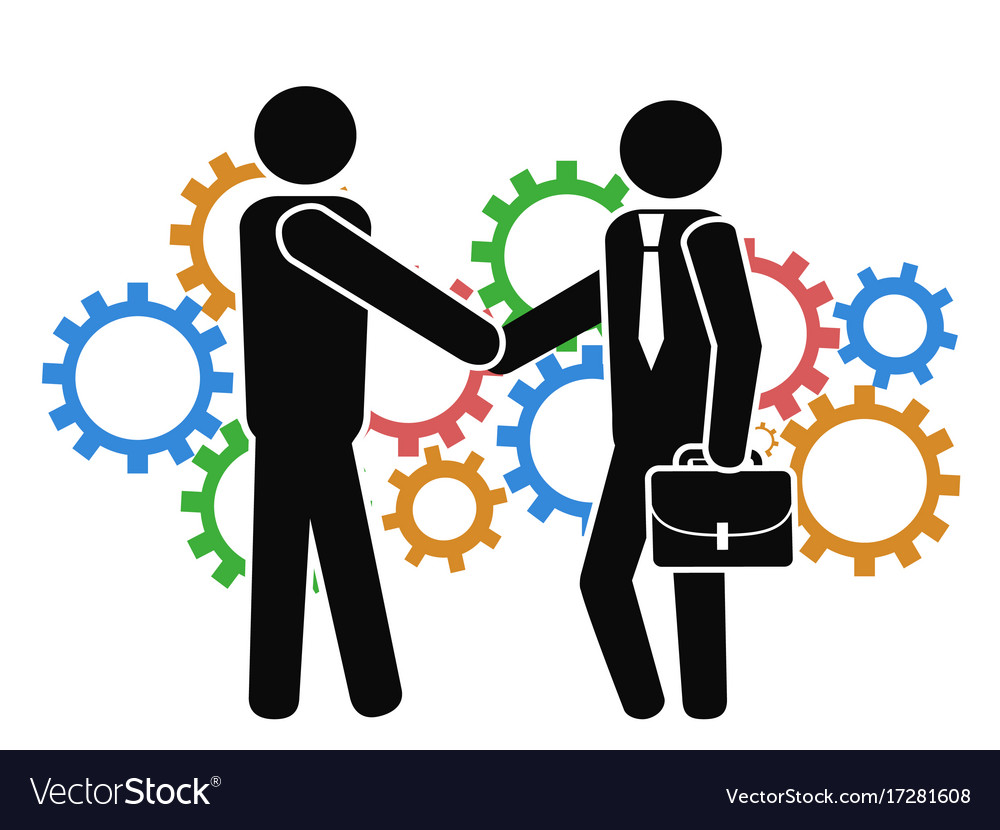 Businessman shake hand on mechanism gears