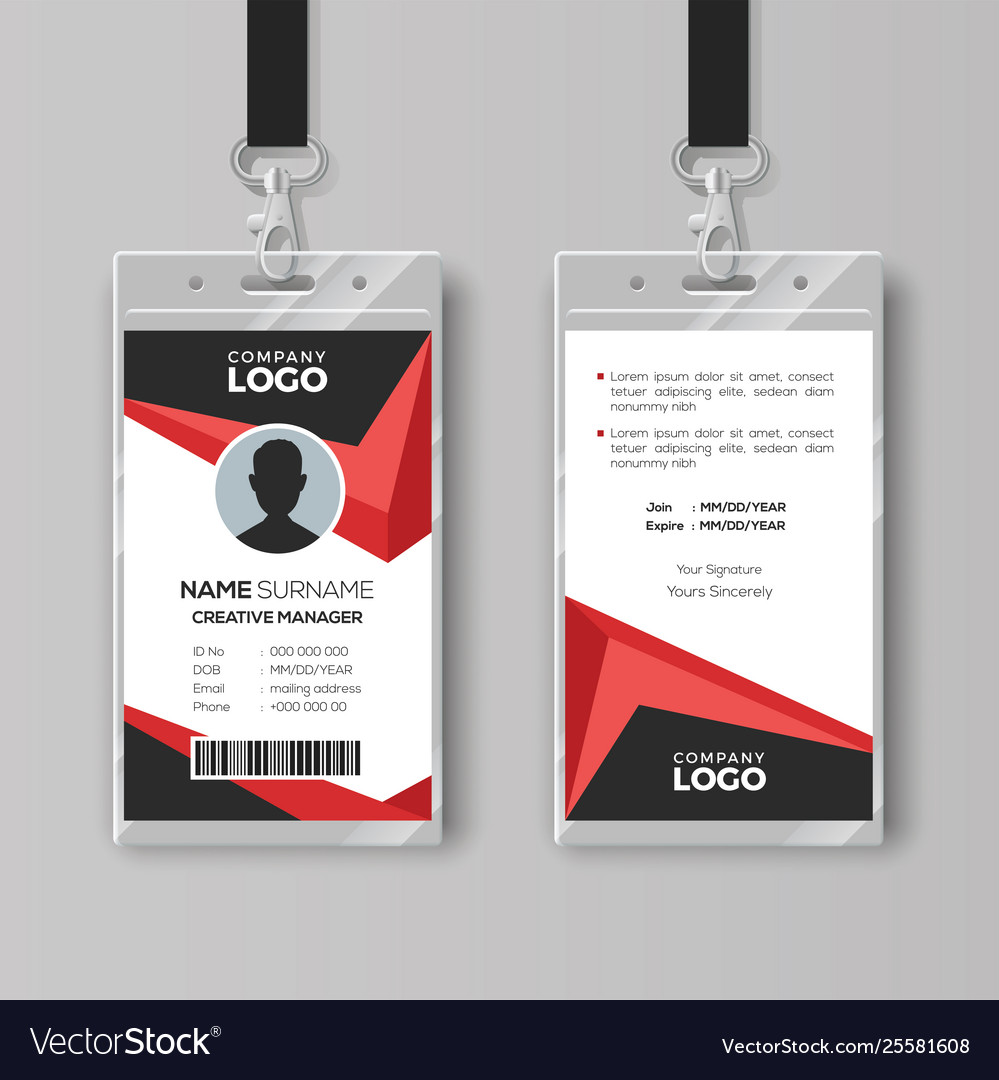 Creative id card template with black and red Vector Image Inside Conference Id Card Template