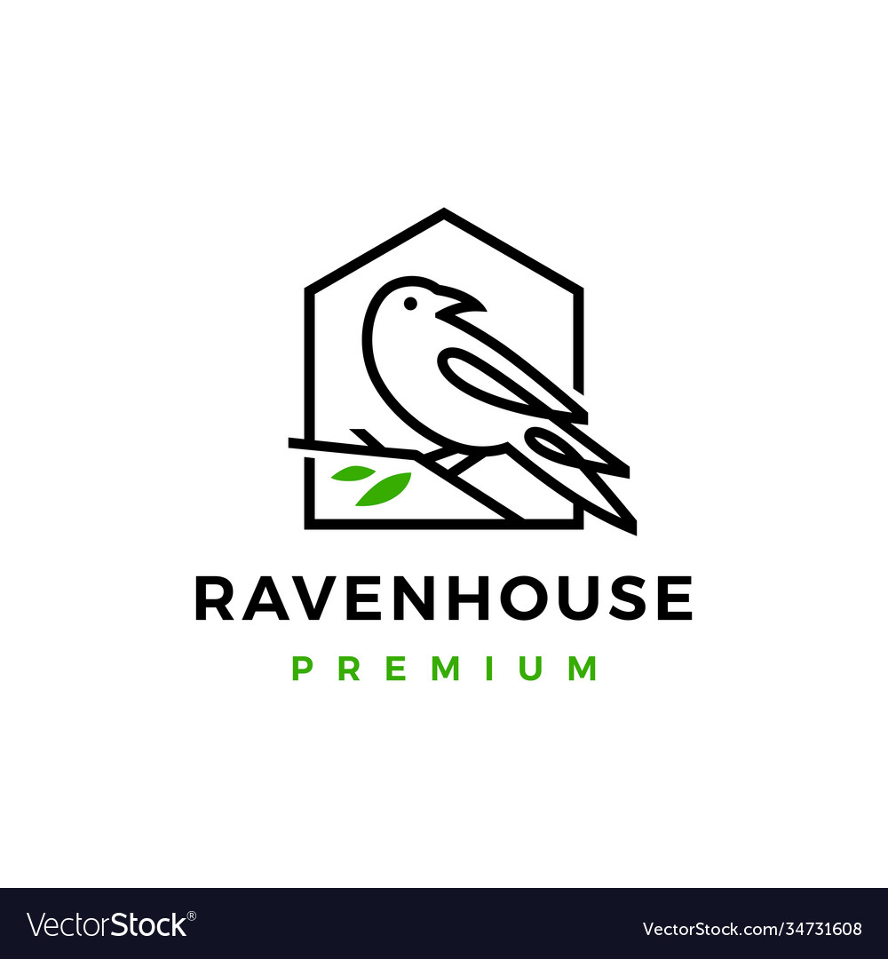 Crow raven bird leaf line logo icon