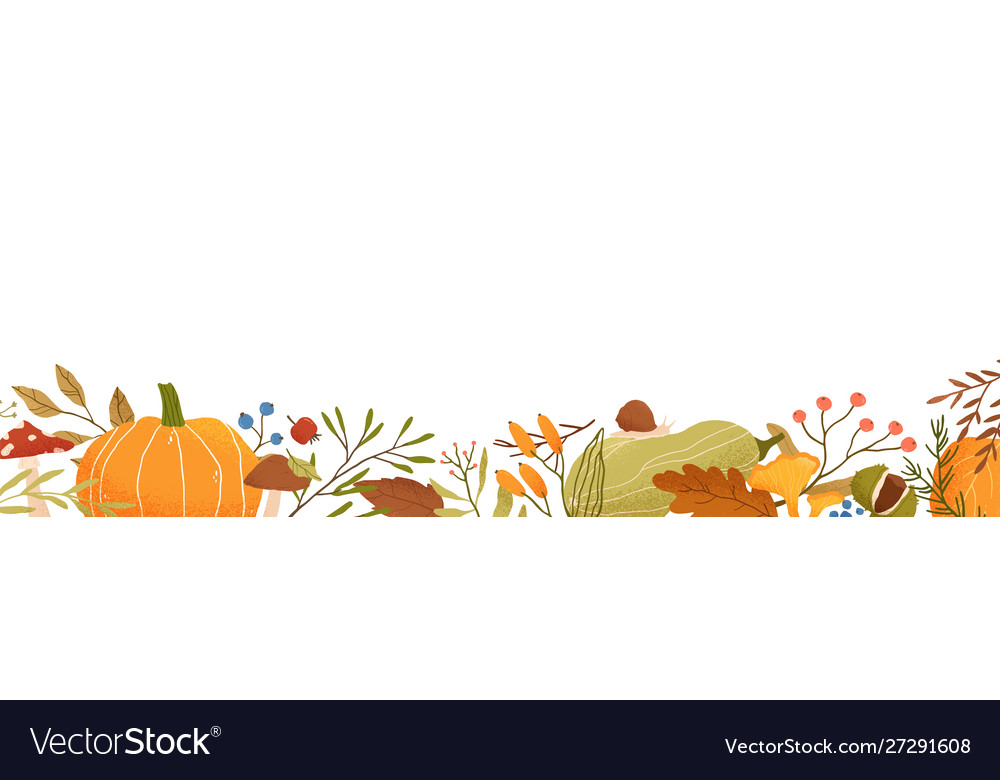 Fall flat background autumn decorative vector