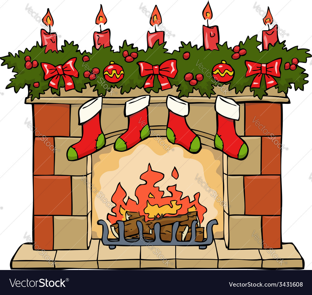 Christmas Fireplace Scene Clipart.Fireplace Xmas