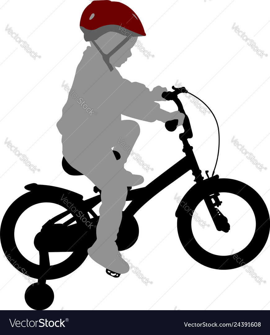 Little boy riding bicycle high quality silhouette
