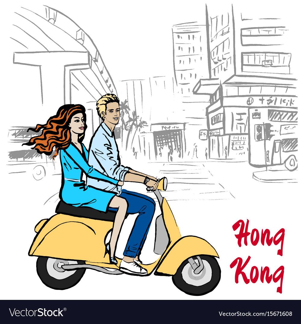 Man on hong kong vector image
