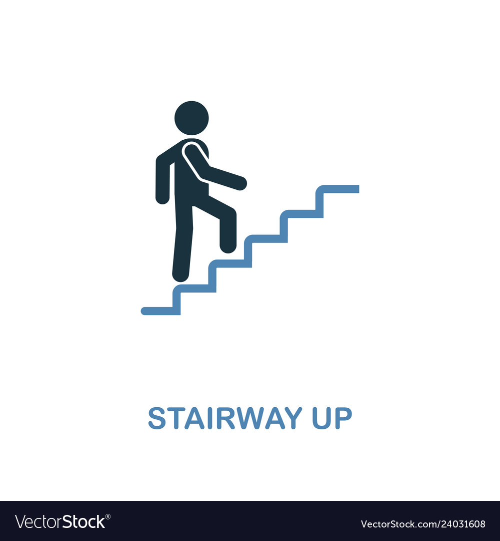 Stairway up icon monochrome style design from