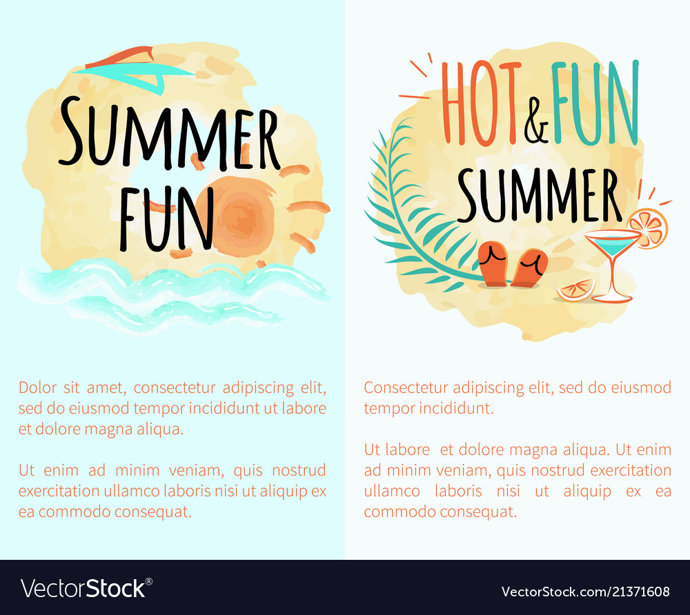 Summer hot and fun vacation set posters with sun