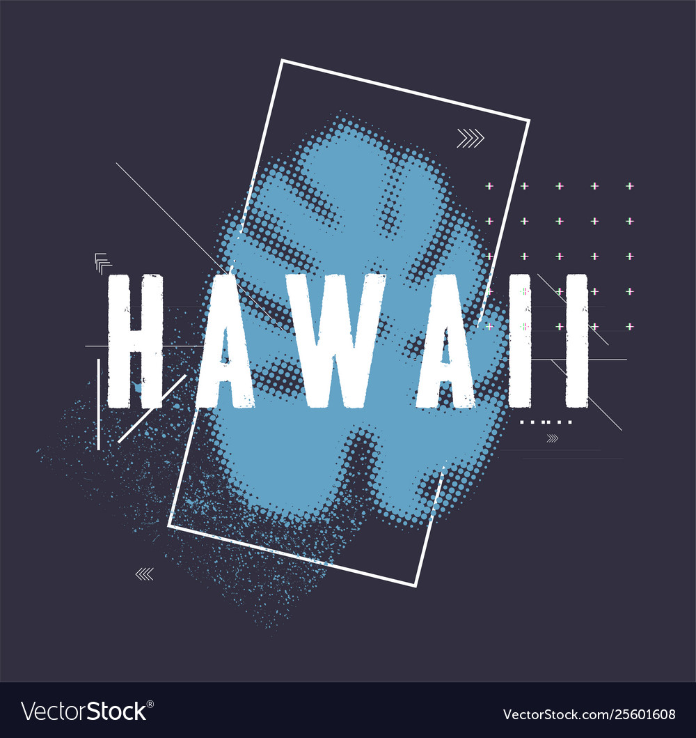 T-shirt design - hawaii with tropical leave