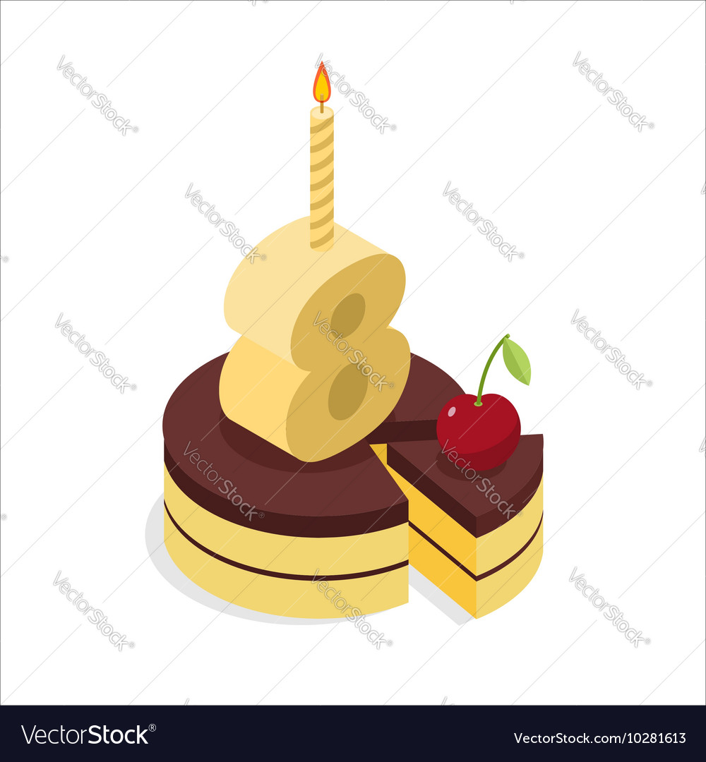8 Years Old Birthday Cake Isometrics Figure Eight Vector Image