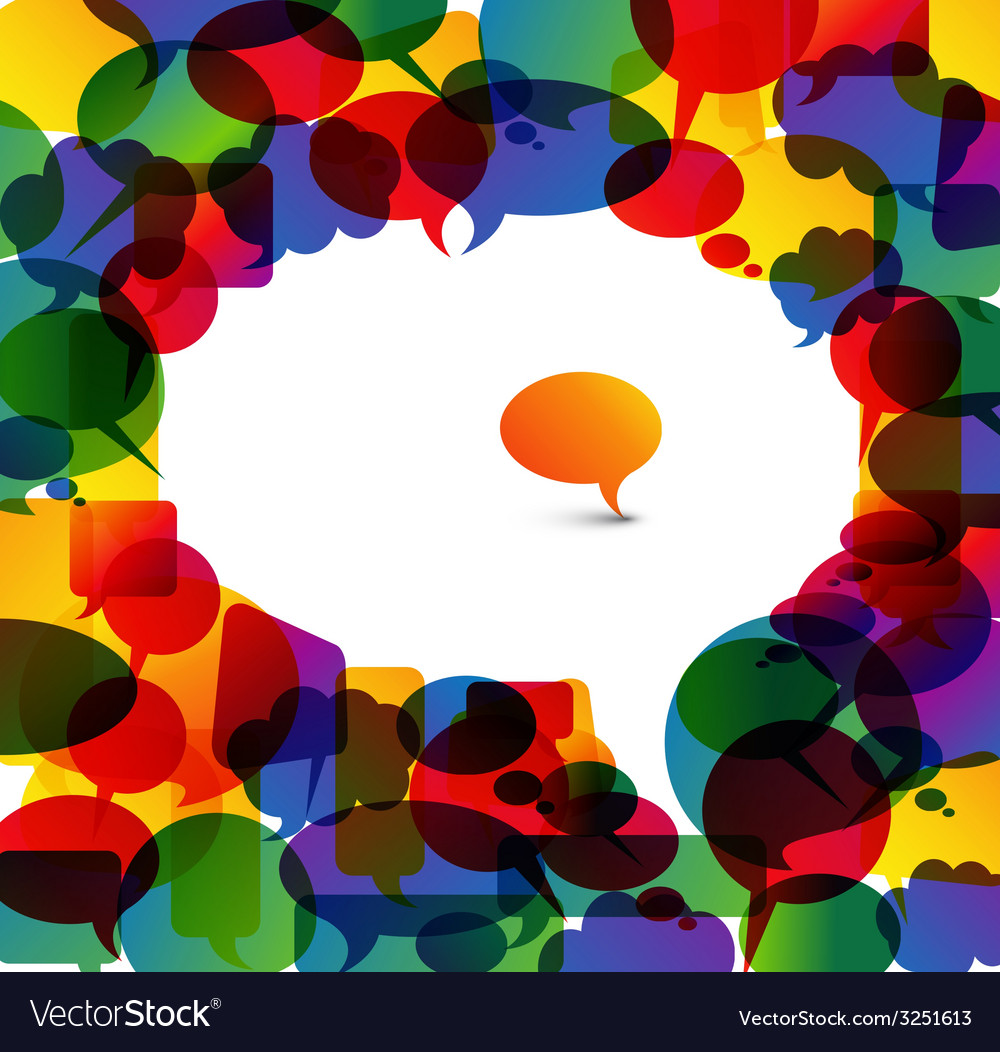 Big speech bubble made from colorful small bubbles vector image