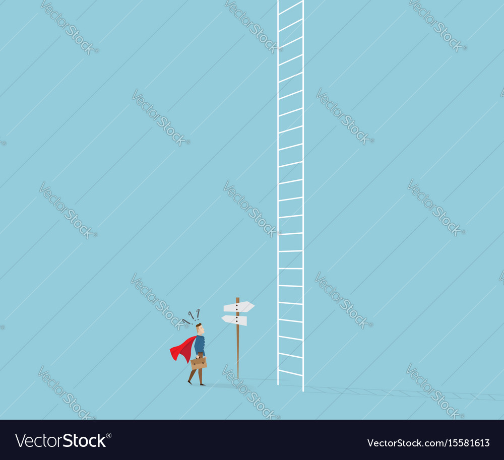 Businessman confused in front of white ladder