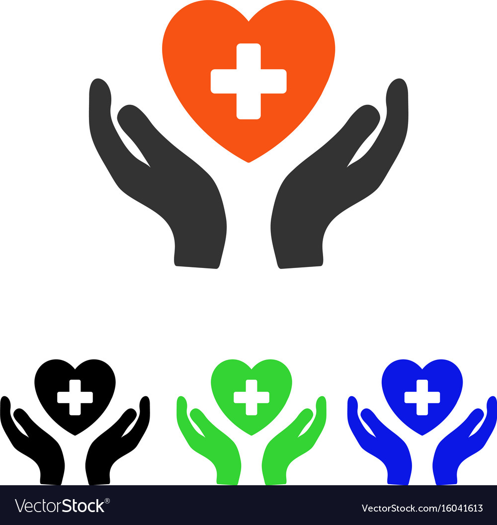 Cardiology care hands flat icon