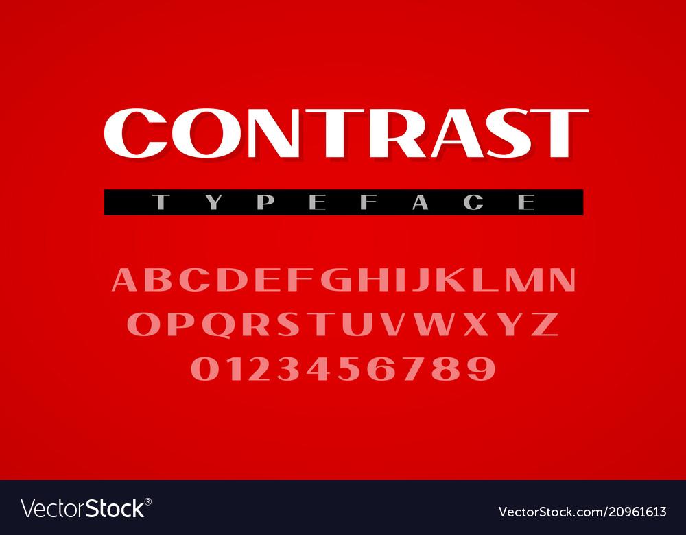 Contrast sans serif typeface uppercase letters
