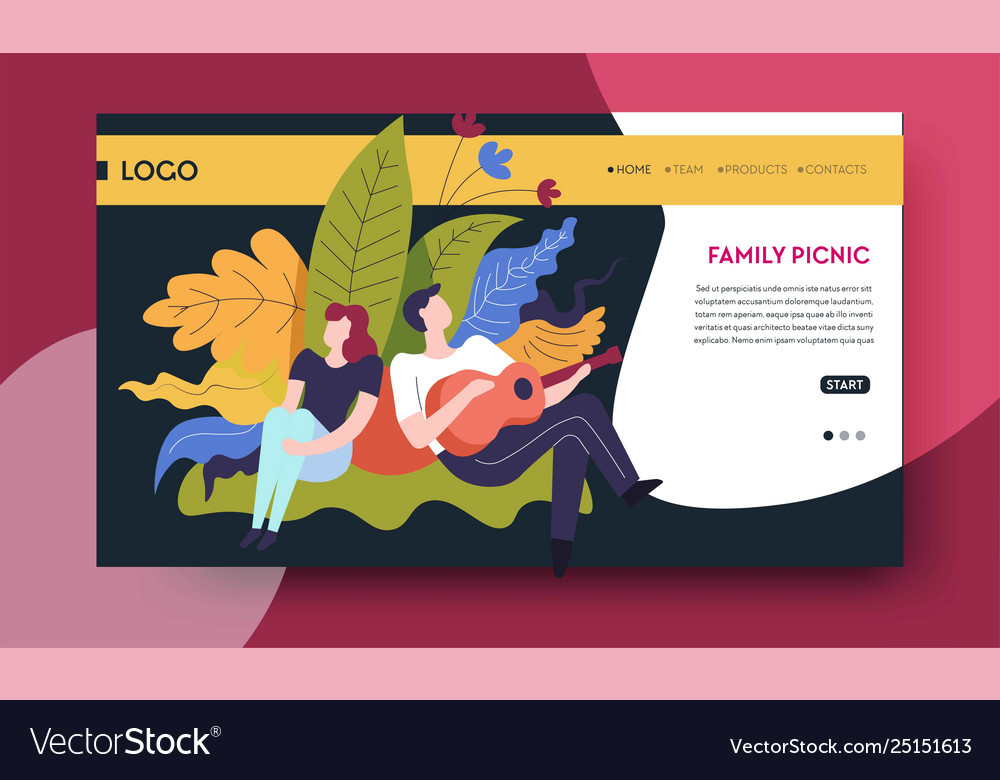 Family picnic online web page template man and