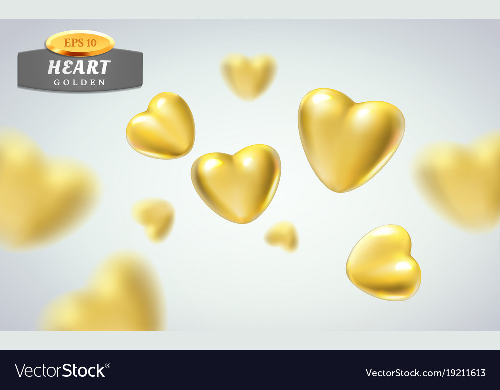 Golden realistic hearts isolated on background