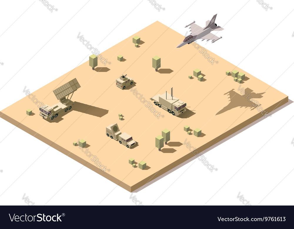 Isometric military surface-to-air missile system vector image