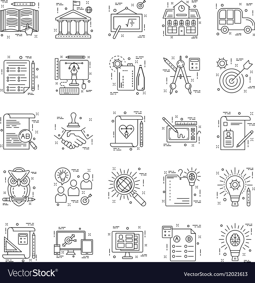 Line Icons With Detail 4 vector image