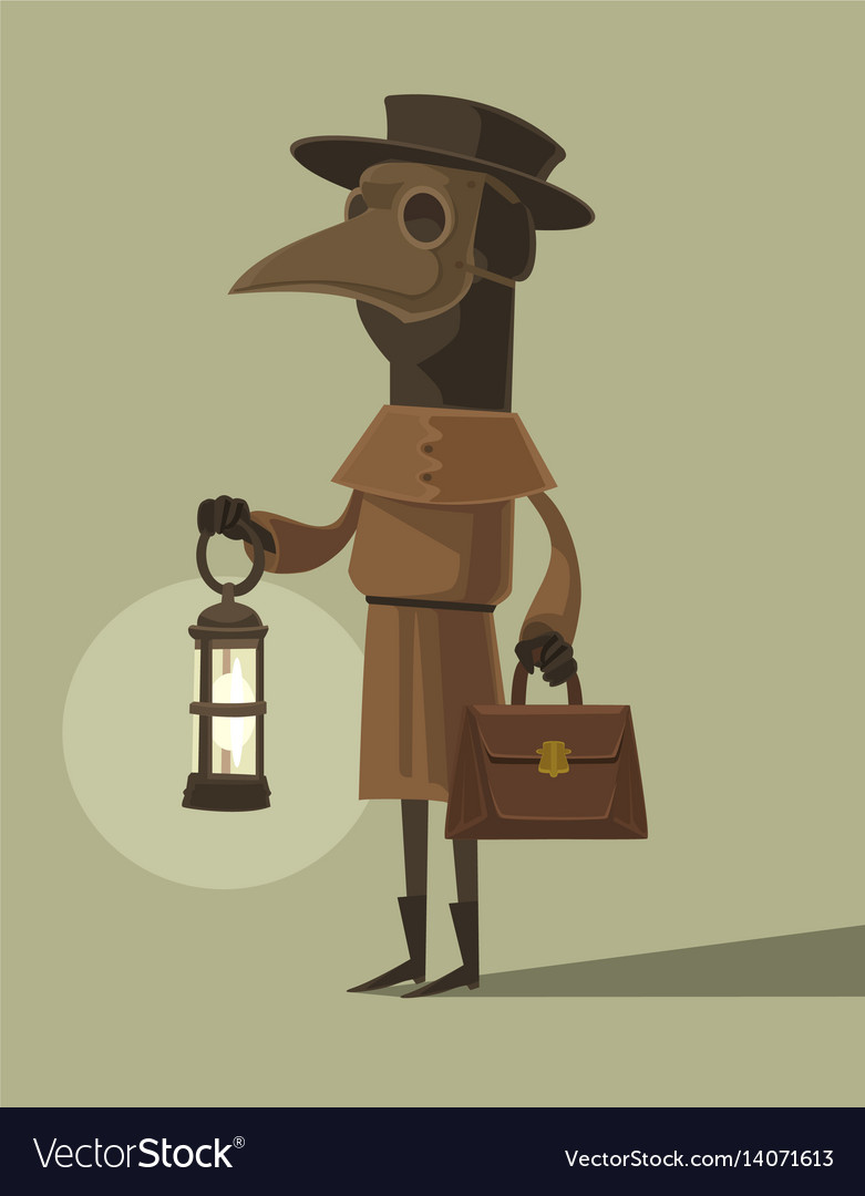 Plague doctor character mascot crow mask vector image