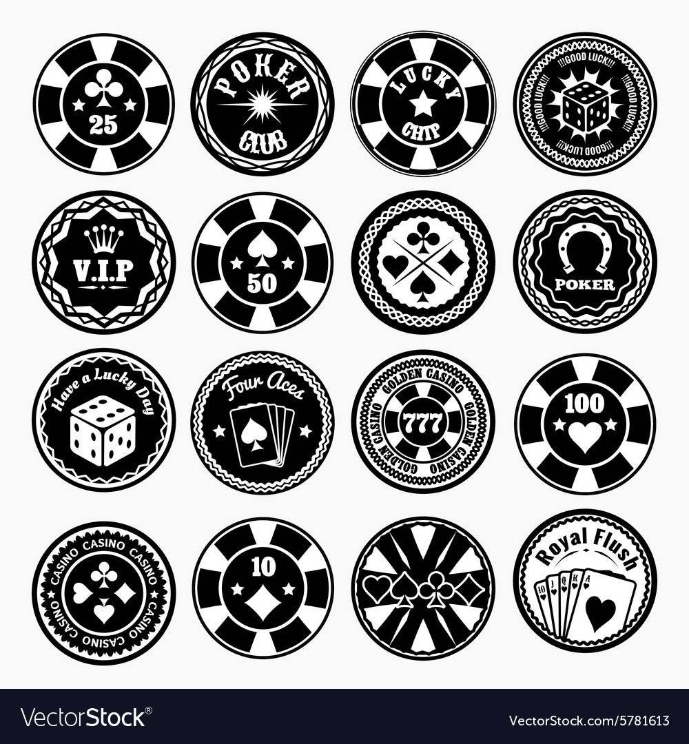 Poker club and casino black labels vector image