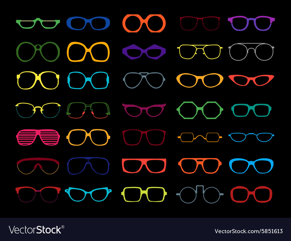 Set of colored glasses Retro geek