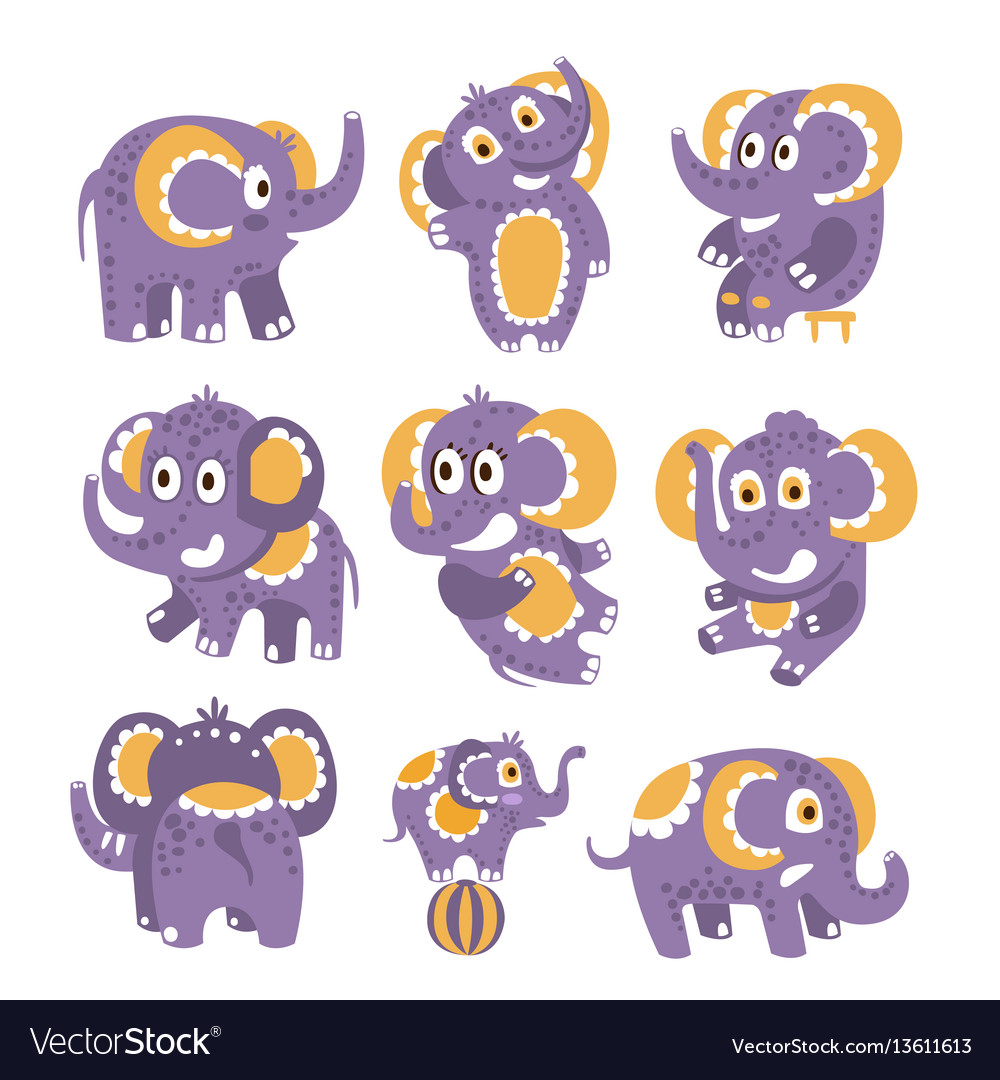 Stylized elephant with polka-dotted pattern set of