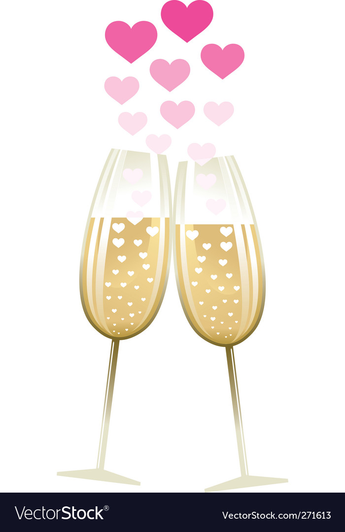 Two glasses with heart vector image