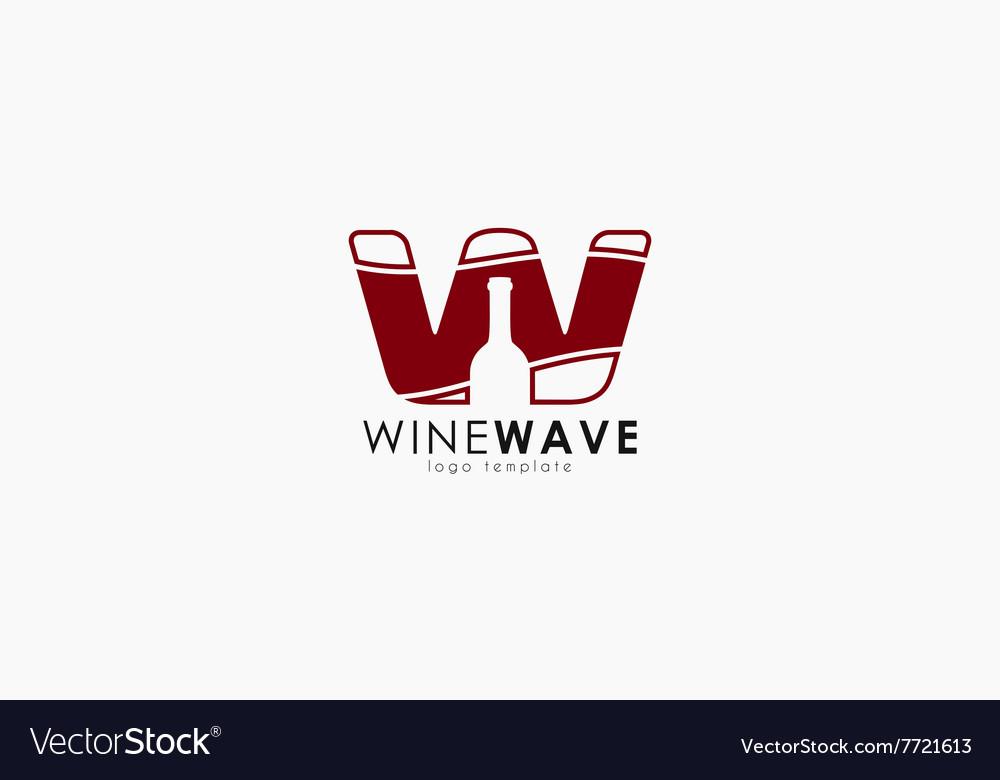 Wine logo design wine bottle design W letter vector image