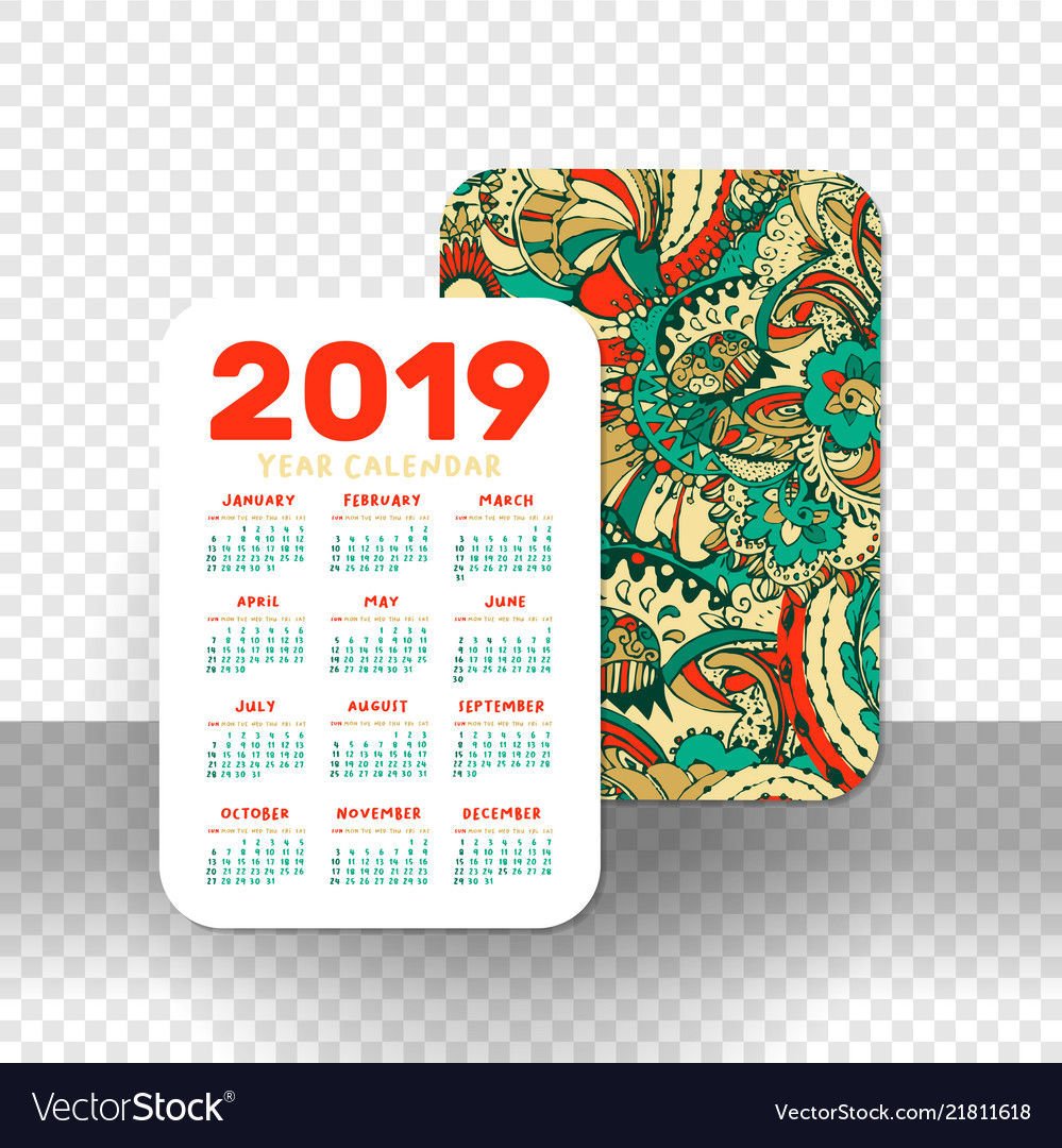 2019 calendar template for pocket calendar basic vector image