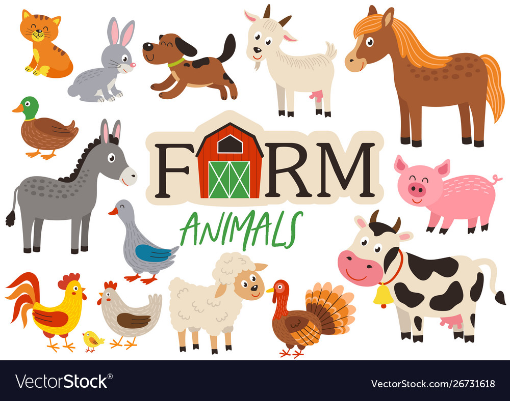 Basic rgbset isolated cute farm animals