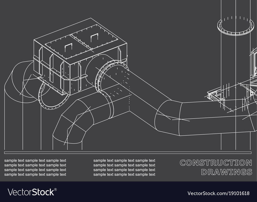 Drawings of steel structures pipes 3d blueprint vector image malvernweather Images