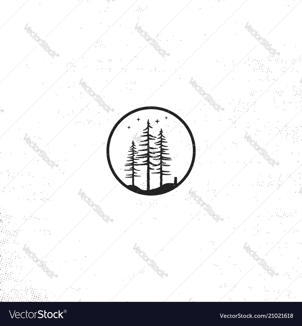 Hand drawn forest badge concept pine trees