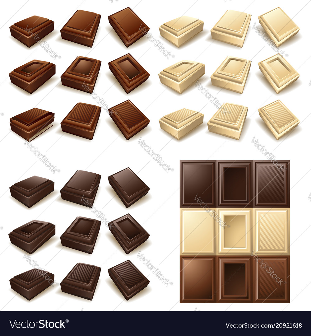 Icon set - chocolate pieces and bars