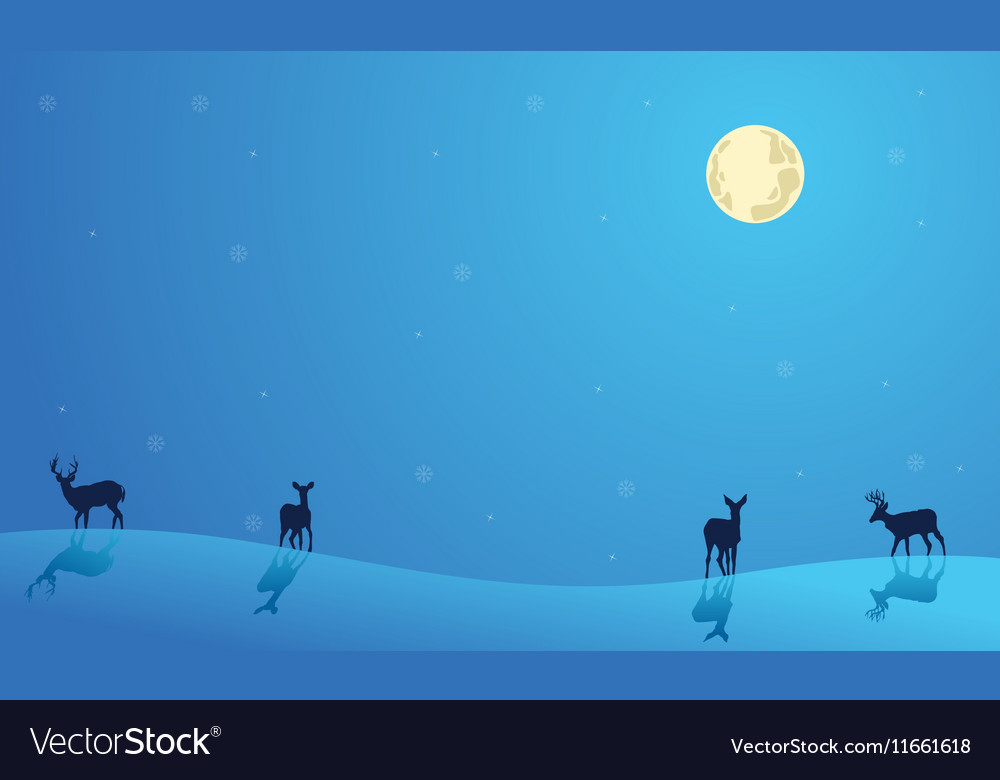 Landscape Christmas deer collection stock vector image