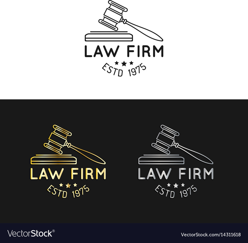 Law office logos set with gavel
